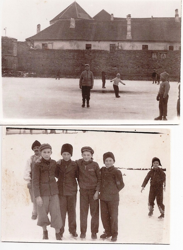 """""""Two Generations Ice-skating """" (above: Me, 1963/ Bellow: my Father and friends, 1934. Both pictures at the Cetatea Fagaras, Fagaras, Romania) My Photo Collection)"""