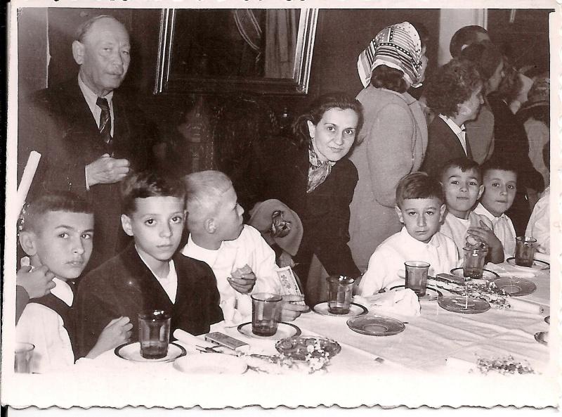At My First Communion, Rectoratul Catedralei Sfintul Iosif, Bucuresti, 1958 ( My Grandfather, Mother and a childhood friend, Dr.Mircea Oarda (My Photo Collection)