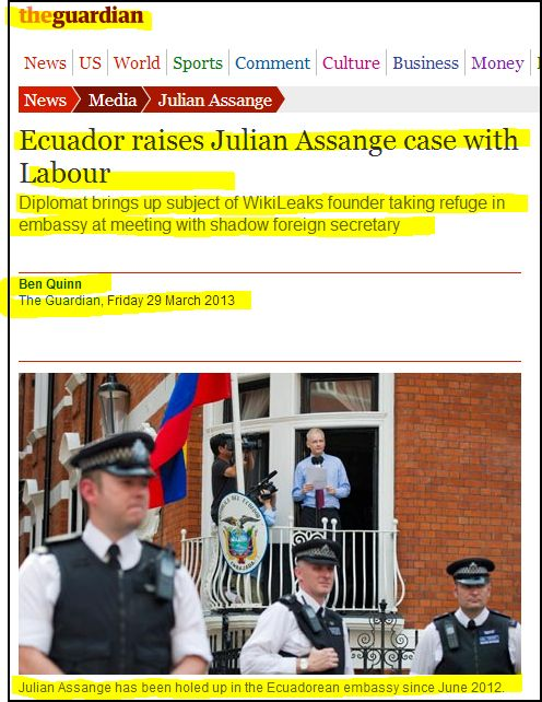 the Guardian - Ecuador raises Julian Assange case with Labour