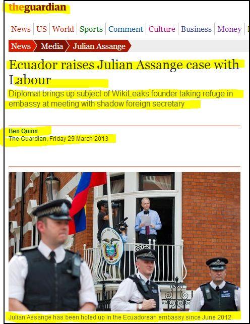 the Guardian - Ecuador raises Julian Assange case with Labour