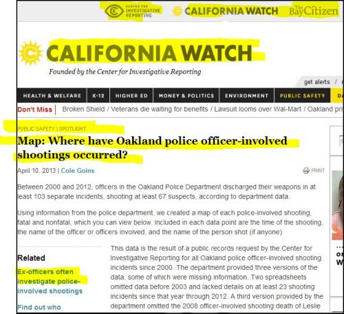 CALIFORNIA WATCH--_--Map-_- Where have Oakland police officer-involved shootings occurred...