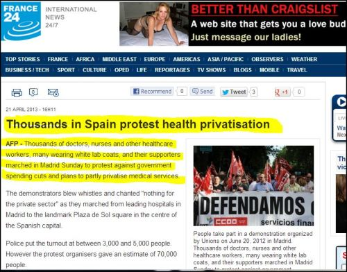 France 24 international_-_Thousands in Spain protest health privatisation
