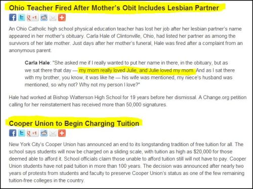 From Democracy Now - Ohio Teacher Fired...After Mother's OBIT INCLUDES LESBIAN PARTNER.