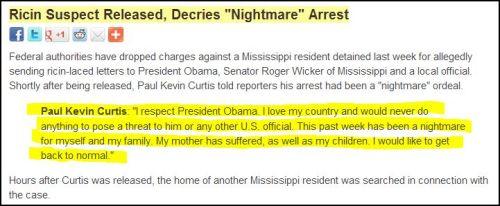 From Democracy Now - Ricin Suspect Released, Decries 'Nightmare' Arrest (guilty until Proven Innocent)