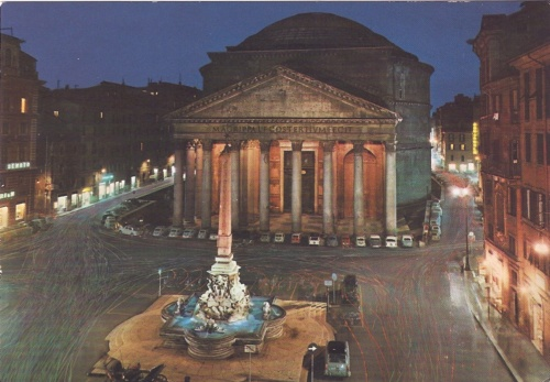Il Pantheon-Notturno_ Rome February 1984 (the postcard never sent) (my photo Collection)