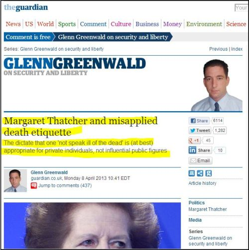 Margaret Thatcher and misapplied death etiquette (from TheGuardian)