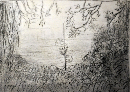 Misty Lake Woodless Graphite Pencil Sketch My Art Collection