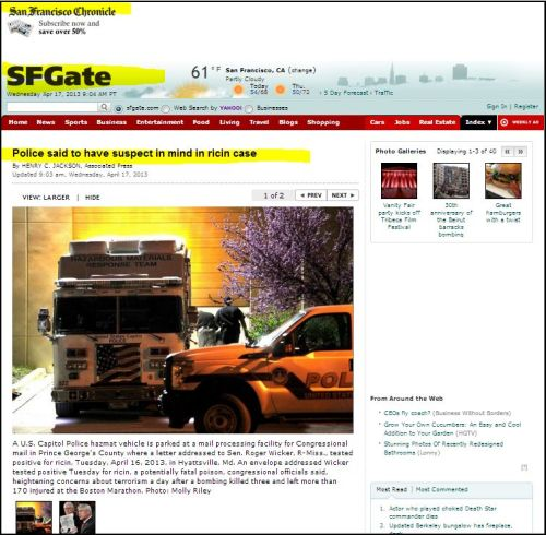 SFGate: Police said to have suspect in mind in ricin case  Read more: http://www.sfgate.com/news/politics/article/Police-said-to-have-suspect-in-mind-in-ricin-case