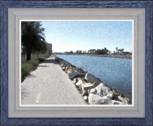 San Gabriel River Bike Trail - Mile 0.5 - Oil Painting - Custom Frame (My Art Collection)