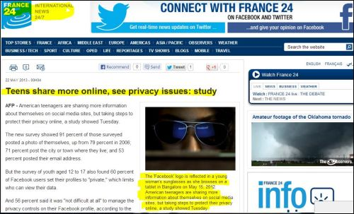 From France 24 International: Teens share more online, see privacy issues - study