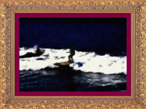 Nocturnal Surfer_-_Huntington Beach_-_Oil Pastel Sketch (My Art Collection)
