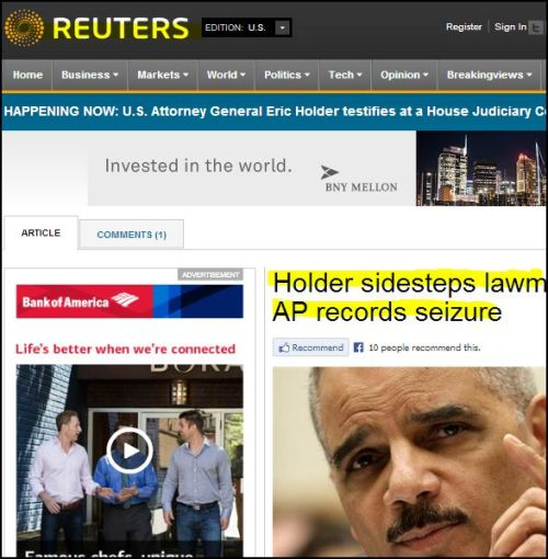 Reuters- Holder sidesteps lawmakers