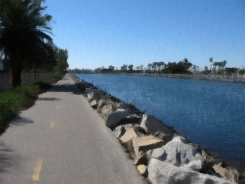 San Gabriel River Bike Trail - Mile 0.5 - Oil Painting (My Art Collection)