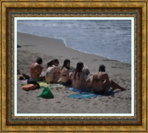 Friends Forever_-_ Huntington Beach_-_Oil Pastel Sketch (My Art Collection)