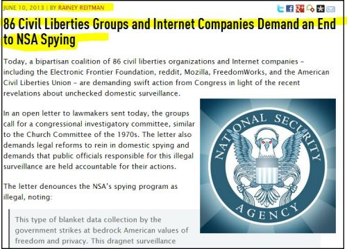 From EFF:  86 Civil Liberties Groups and Internet Companies Demand an End to NSA Spying