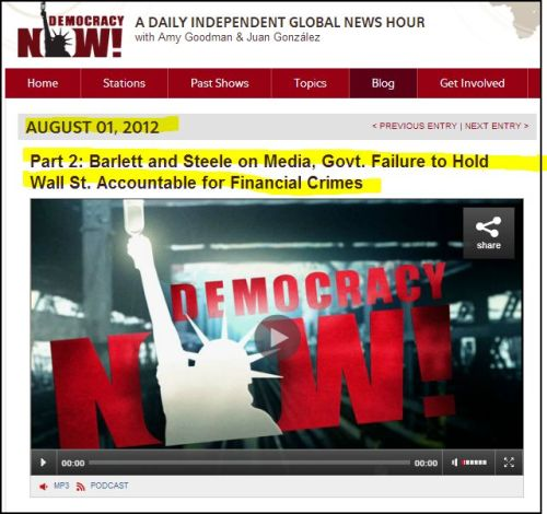 Part 2: Barlett and Steele on Media, Govt. Failure to Hold Wall St. Accountable for Financial Crimes