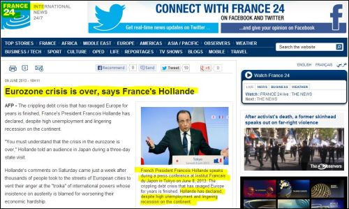 France 24 International: Eurozone crisis is over says France's Hollande