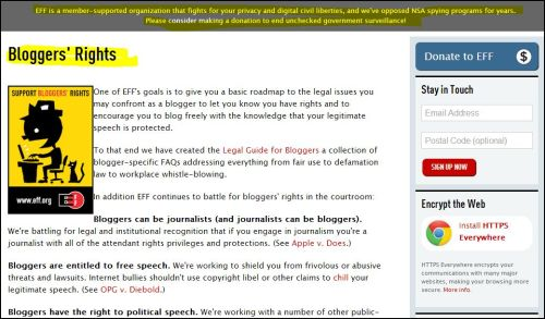 From EFF - Bloggers' Rights (click to access report)