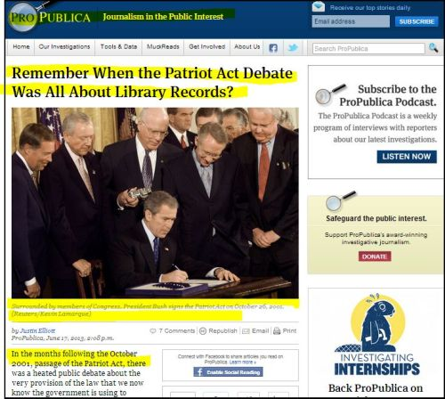 From ProPublica - Remember When the Patriot Act Debate Was All About Library Records?
