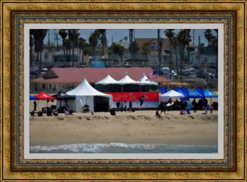 Huntington Beach -  Surfing Championship- Oil Pastel Sketch My Art Collection)