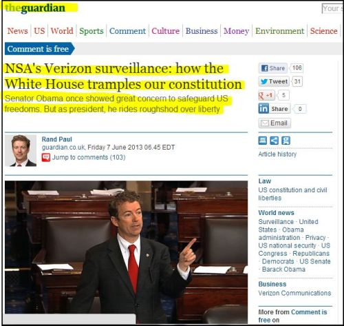 The Guardian: NSA's Verizon surveillance - How the White House tramples our constitution