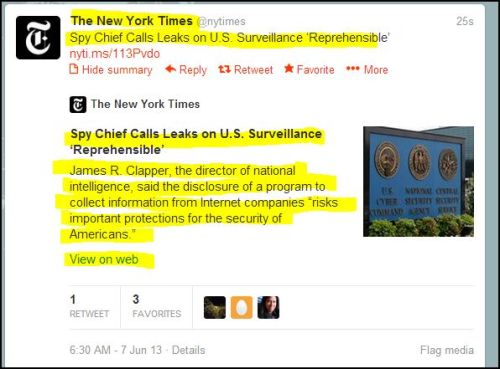 The New York Time: Spy Chief Calls Leaks on U.S. Surveillance 'Reprehensible'