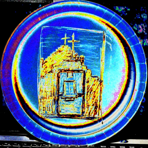 Pencil Sketch on back of paper plate. Photographs Colors arrangement made with FastStone Software.