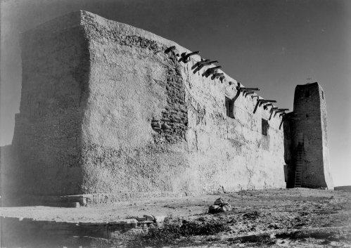 "Church, Acoma Pueblo,"" side wall and tower with cross."