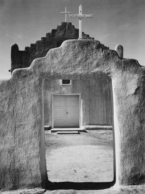 Ansel_Adams_-_National_Archives_79-AA-Q01_restored Church, Taos Pueblo, New Mexico (1942)