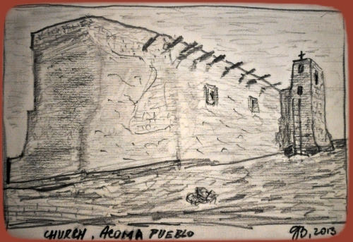 "Church, Acoma Pueblo: Side wall and tower with cross, New Mexico, Pencil Sketch with terracotta background, after ""Murals Project"" by Adams Ansel, 1942-1943)"