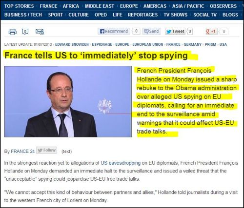 From France 24 International: France tells US to 'immediately' stop spying