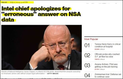 from CBS -_- Intel chief apologizes for 'erroneous' answer on NSA data