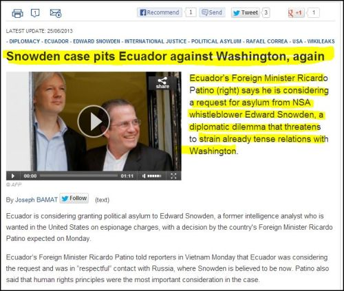 From Frnace 24 International - Snowden case pits Ecuador against Washington, again