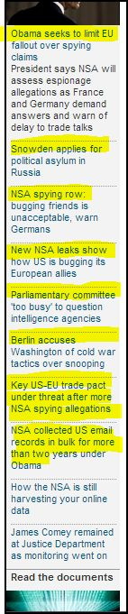 from Guardian UK- Key US-EU trade pact under threat after more NSA spying allegations