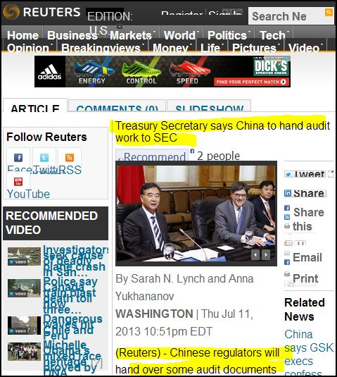 FROM REUTERS-_-Treasury Secretary says China to hand audit work to SEC