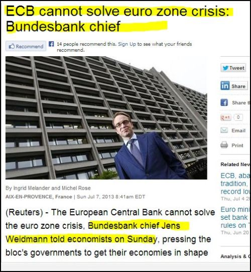From Reuters - ECB cannot solve euro zone crisis -_- Bundesbank chief