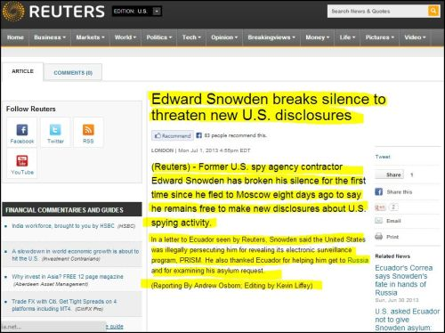 From Reuters - Edward Snowden breaks silence to threaten new U.S. disclosures