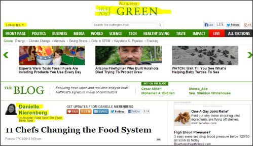 From The Blog - huff Post Green- Danielle Nierenberg - 11 Chefs Changing the Food System