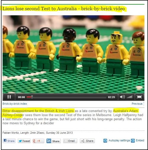 Lions lose second Test to Australia - brick-by-brick video (click to access video)
