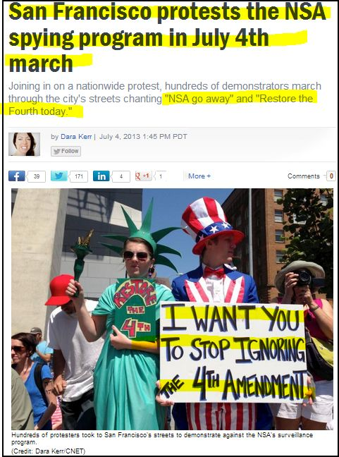 From CNN: San Francisco protests the NSA spying program in July 4th march