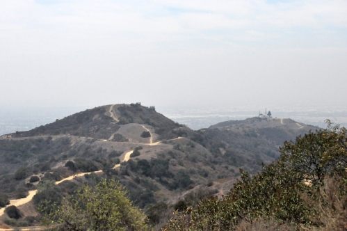 Rattlesnake trail (left) and Whittier Water tower (Further Right): From the Water tower)