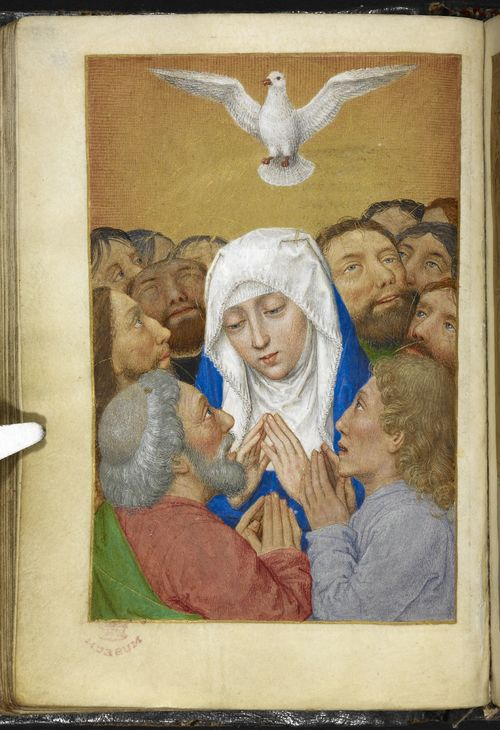 Miniature of the Pentecost, from the Huth Hours, Netherlands