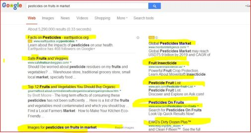 About 5,290,000 results (0.33 seconds)       Facts on Pesticides - earthjustice.org‎     Adwww.earthjustice.org/pesticides‎     Learn about the impacts of pesticides on your health.     Earthjustice has 468 followers on Google+  Search Results      Safe Fruits and Veggies     www.safefruitsandveggies.com/     Should I be worried about pesticide residues on my fruits and vegetables? .... Warehouse store, traditional grocery store, small local market, specialty food ...     Top 12 Fruits and Vegetables You Should Buy Organic     gourmetfood.about.com/od/slowfoodorganiclocal/a/organicproduce.htm     by Brett Moore - The long term effects of consuming these pesticides has not been sufficiently ... Here is a list of the fruits and vegetables most contaminated and which you should buy ... Find a Local Farmers Market · How to Make Your Kitchen Eco-Friendly ..