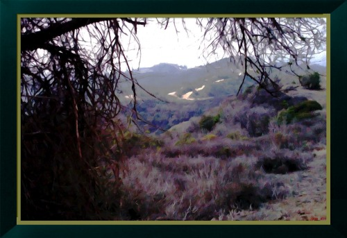 along the trail by George-B_FotoSketcher (Painting 8-excessive strokes-2-framed) my art collection_FotoSketcher