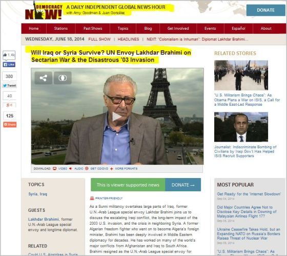 Will Iraq or Syria Survive?  UN Envoy Lakhdar Brahimi on Sectarian War and the Disastrous 03' Invasion.