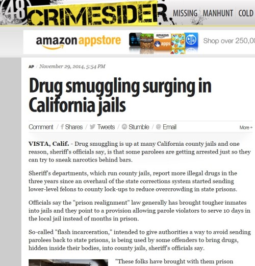 Crimesider-Drug smuggling surging in California jails