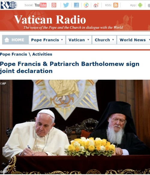 Pope Francis and Patriarch Bartholomew sign joint declaration