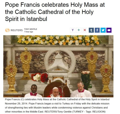 Pope Francis celebrates Holy Mass at th eCatholic Cathedral of the Holy Spirit in Istambul