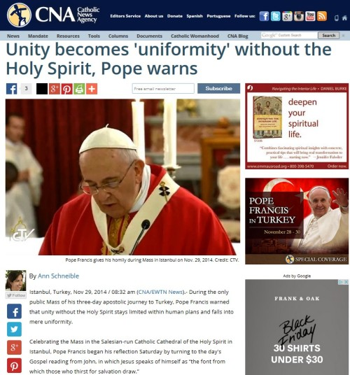 Unity becomes 'uniformity'without the Holy Spirit
