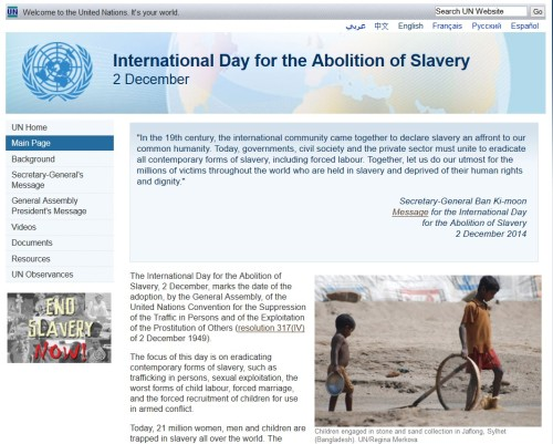 International Day for the Abolition of Slavery| 2 December (access site here)